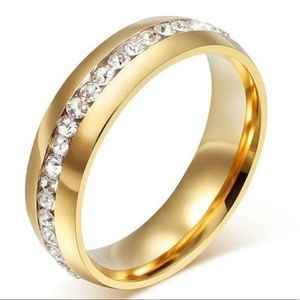 Gold Band with White Austrian Crystals